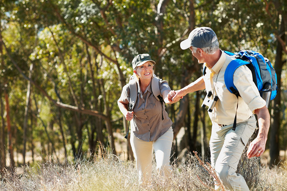 Elderly Couple Hiking Together