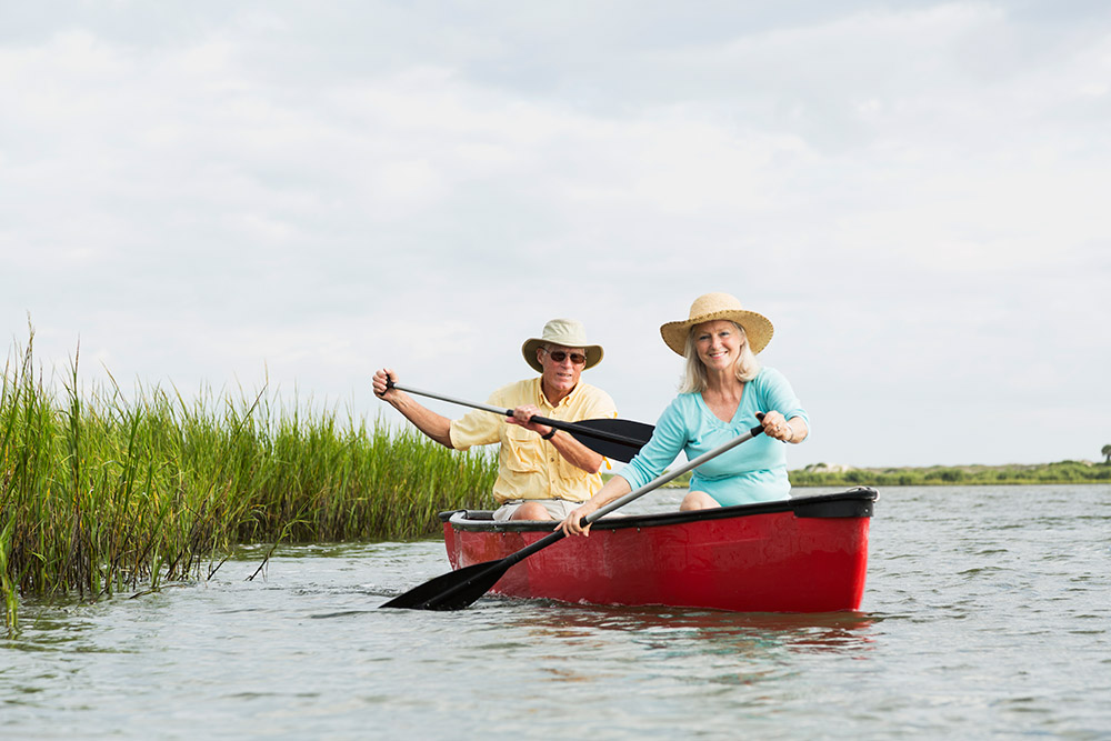 Elderly Couple in Boat
