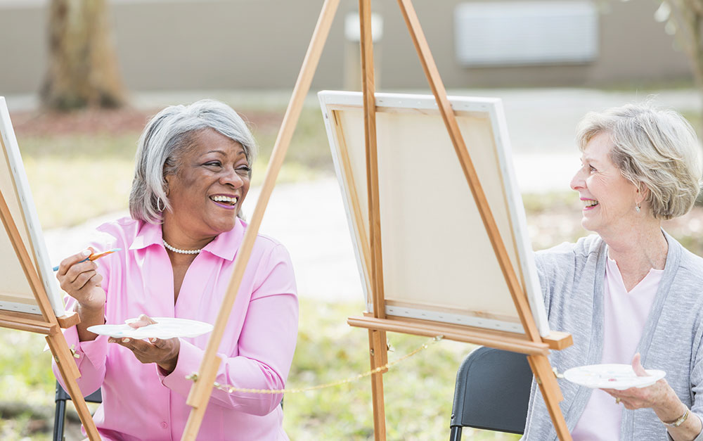 Elderly Women Painting Together